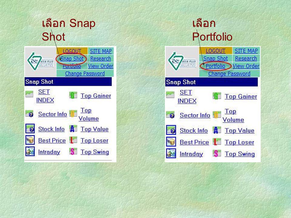 เลือก Snap Shot เลือก Portfolio