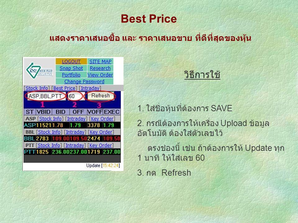 Best Price แสดงราคาเสนอซื้อ และ ราคาเสนอขาย ที่ดีที่สุดของหุ้น วิธีการใช้ 1.