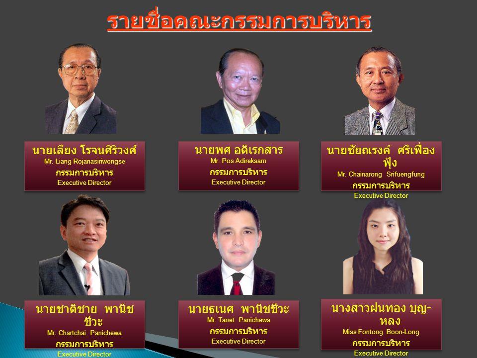 นายชาติชาย พานิช ชีวะ Mr. Chartchai Panichewa กรรมการบริหาร Executive Director นายชาติชาย พานิช ชีวะ Mr. Chartchai Panichewa กรรมการบริหาร Executive D