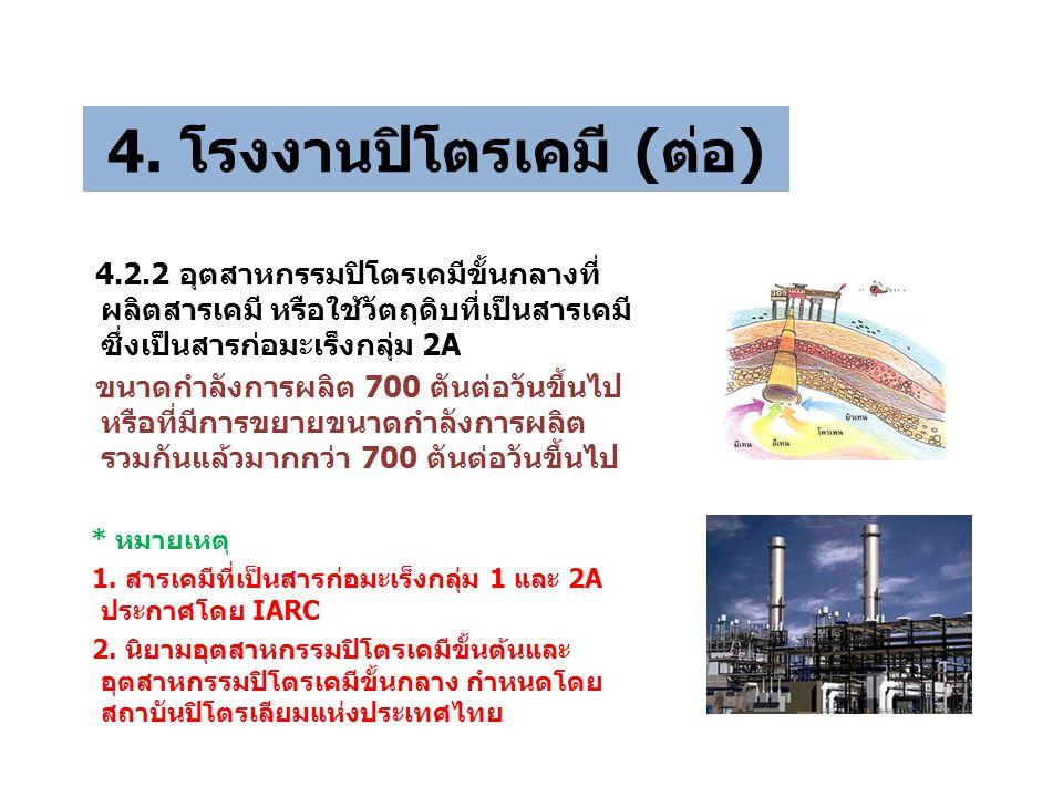 4. โรงงานปิโตรเคมี (ต่อ) 4.2.2 อุตสาหกรรมปิโตรเคมีขั้นกลางที่ ผลิตสารเคมี หรือใช้วัตถุดิบที่เป็นสารเคมี ซึ่งเป็นสารก่อมะเร็งกลุ่ม 2A ขนาดกำลังการผลิต
