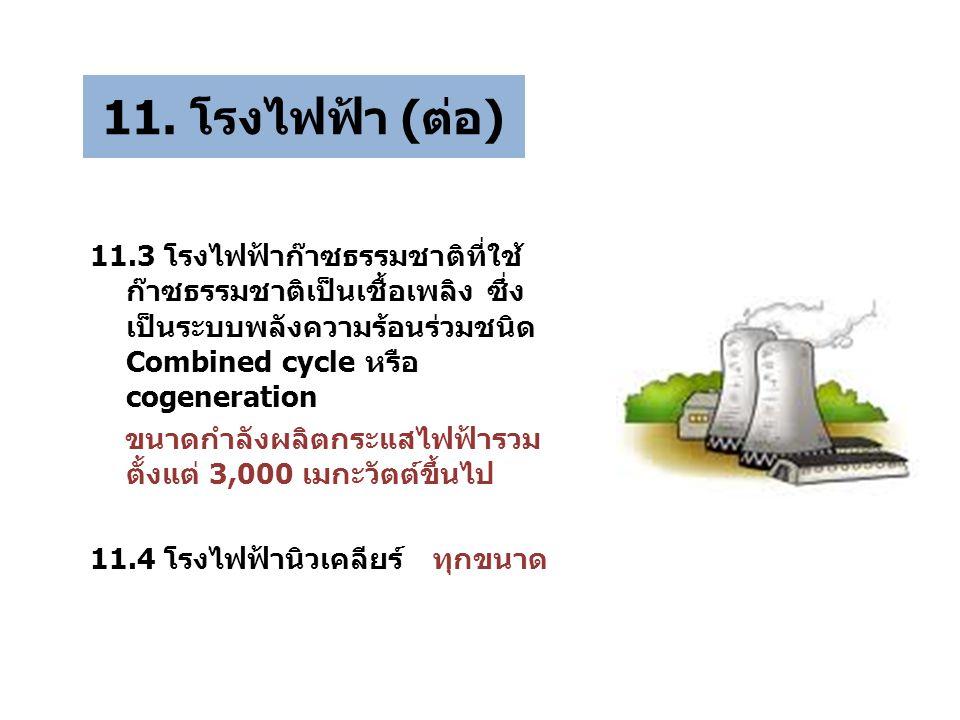 11. โรงไฟฟ้า (ต่อ) 11.3 โรงไฟฟ้าก๊าซธรรมชาติที่ใช้ ก๊าซธรรมชาติเป็นเชื้อเพลิง ซึ่ง เป็นระบบพลังความร้อนร่วมชนิด Combined cycle หรือ cogeneration ขนาดก
