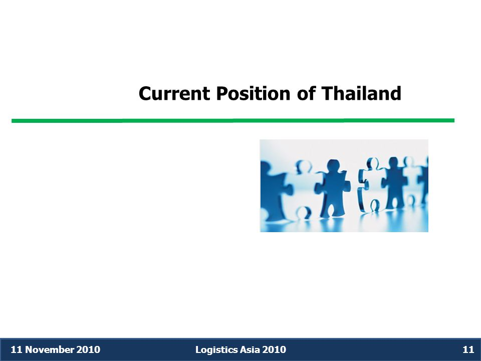 Current Position of Thailand 11 November 2010Logistics Asia 201011
