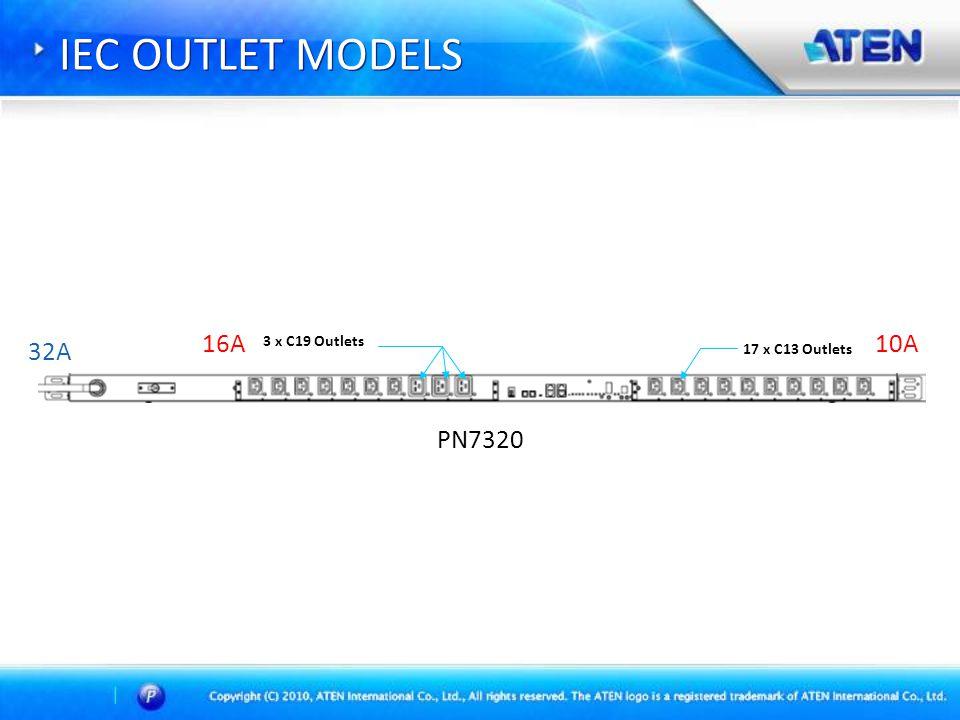 IEC OUTLET MODELS 3 x C19 Outlets 17 x C13 Outlets 10A16A 32A PN7320