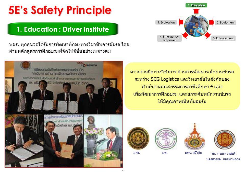 4 1. Education : Driver Institute 1. Education 2. Equipment 3. Enforcement 5. Evaluation 4. Emergency Response พขร. ทุกคนจะได้รับการพัฒนาทักษะทางวิชาช