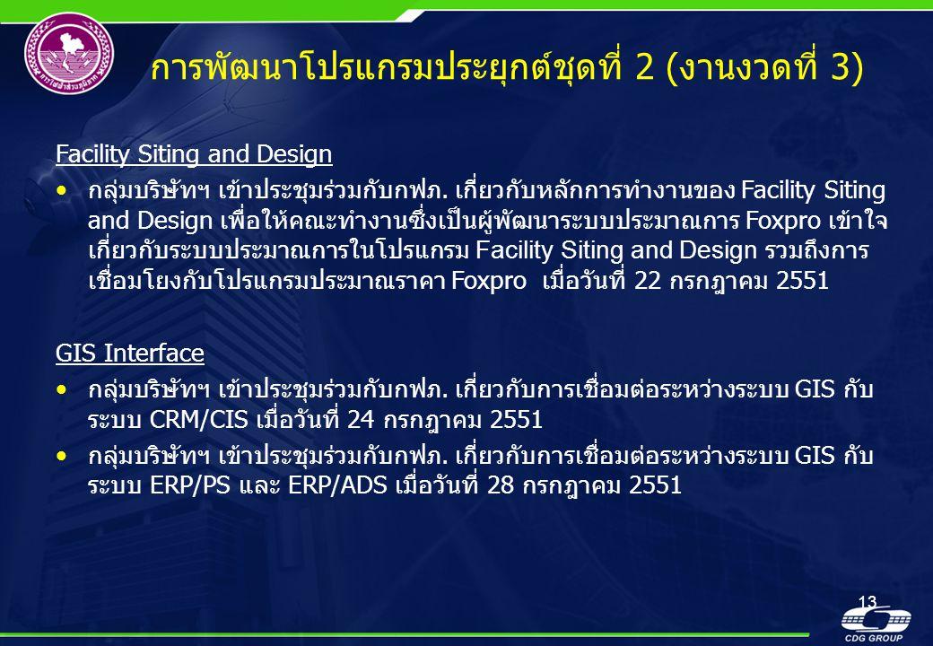 13 การพัฒนาโปรแกรมประยุกต์ชุดที่ 2 (งานงวดที่ 3) Facility Siting and Design •กลุ่มบริษัทฯ เข้าประชุมร่วมกับกฟภ. เกี่ยวกับหลักการทำงานของ Facility Siti