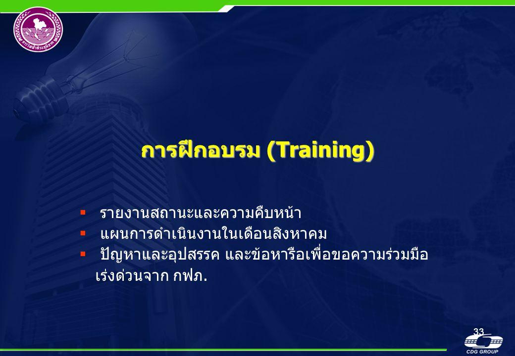 33 การฝึกอบรม (Training)  รายงานสถานะและความคืบหน้า  แผนการดำเนินงานในเดือนสิงหาคม  ปัญหาและอุปสรรค และข้อหารือเพื่อขอความร่วมมือ เร่งด่วนจาก กฟภ.