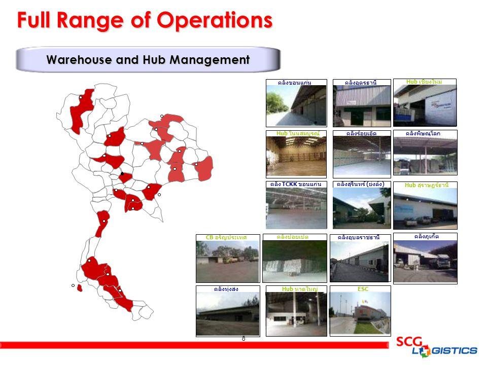 8 8 Full Range of Operations Warehouse and Hub Management คลังอุดรธานี Hub เชียงใหม่ คลังขอนแก่น Hub โนนสมบูรณ์ คลังร้อยเอ็ด Hub สุราษฏร์ธานี คลังพิษณ
