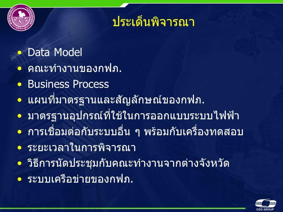 ประเด็นพิจารณา •Data Model •คณะทำงานของกฟภ. •Business Process •แผนที่มาตรฐานและสัญลักษณ์ของกฟภ. •มาตรฐานอุปกรณ์ที่ใช้ในการออกแบบระบบไฟฟ้า •การเชื่อมต่