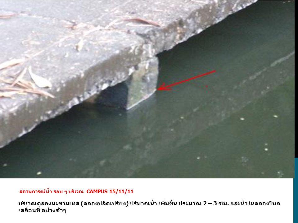 บริเวณคลองมะขามเทศ (คลองปลัดเปรียง) ปริมาณน้ำ เพิ่มขึ้น ประมาณ 2 – 3 ซม. และน้ำในคลองไหล เคลื่อนที่ อย่างช้าๆ สถานการณ์น้ำ รอบ ๆ บริเวณ CAMPUS 15/11/1