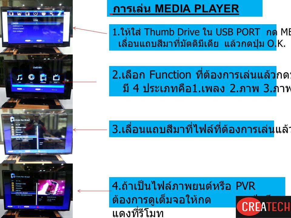 การเล่น MEDIA PLAYER 1. ให้ใส่ Thumb Drive ใน USB PORT กด MENU เลือก USB เลื่อนแถบสีมาที่มัตติมีเดีย แล้วกดปุ่ม O.K. 2. เลือก Function ที่ต้องการเล่นแ