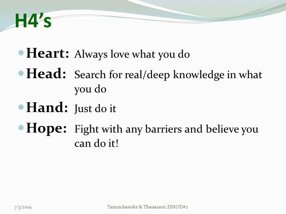  Heart: Always love what you do  Head: Search for real/deep knowledge in what you do  Hand: Just do it  Hope: Fight with any barriers and believe