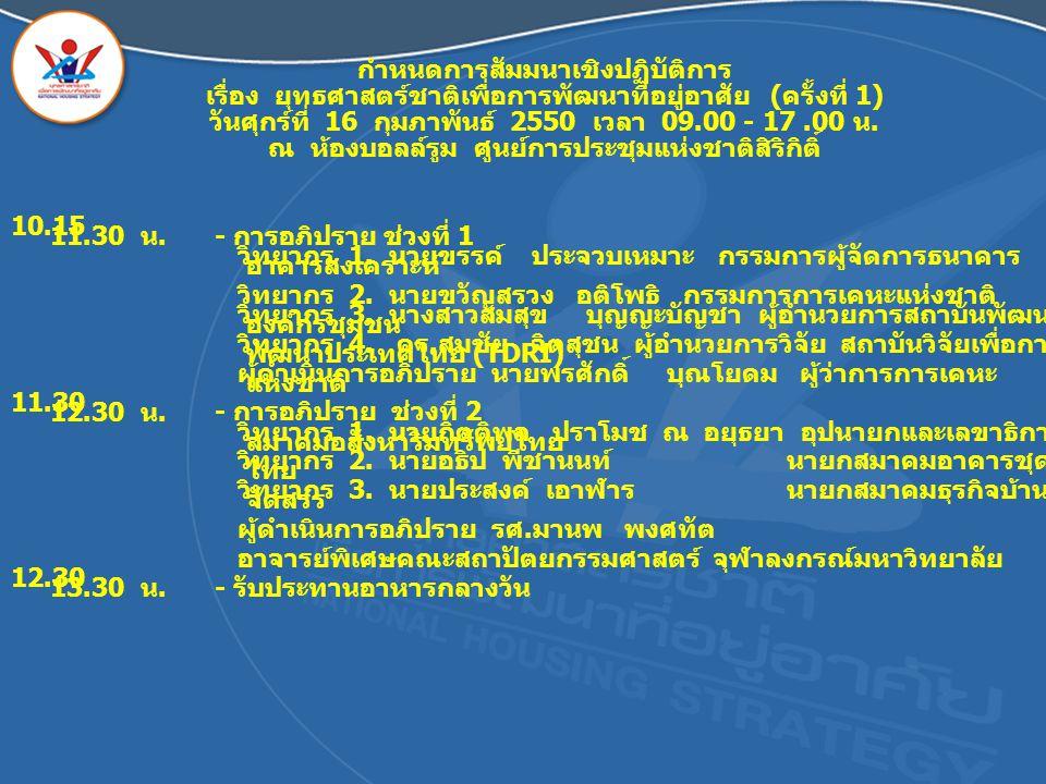 กำหนดการสัมมนาเชิงปฏิบัติการ เรื่อง ยุทธศาสตร์ชาติเพื่อการพัฒนาที่อยู่อาศัย ( ครั้งที่ 1) วันศุกร์ที่ 16 กุมภาพันธ์ 2550 เวลา 09.00 - 17.00 น. ณ ห้องบ
