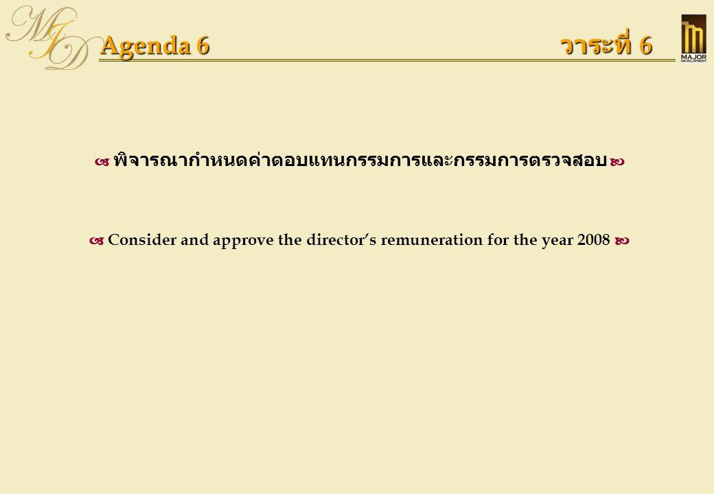 Agenda 6 วาระที่ 6  พิจารณากำหนดค่าตอบแทนกรรมการและกรรมการตรวจสอบ   Consider and approve the director's remuneration for the year 2008 