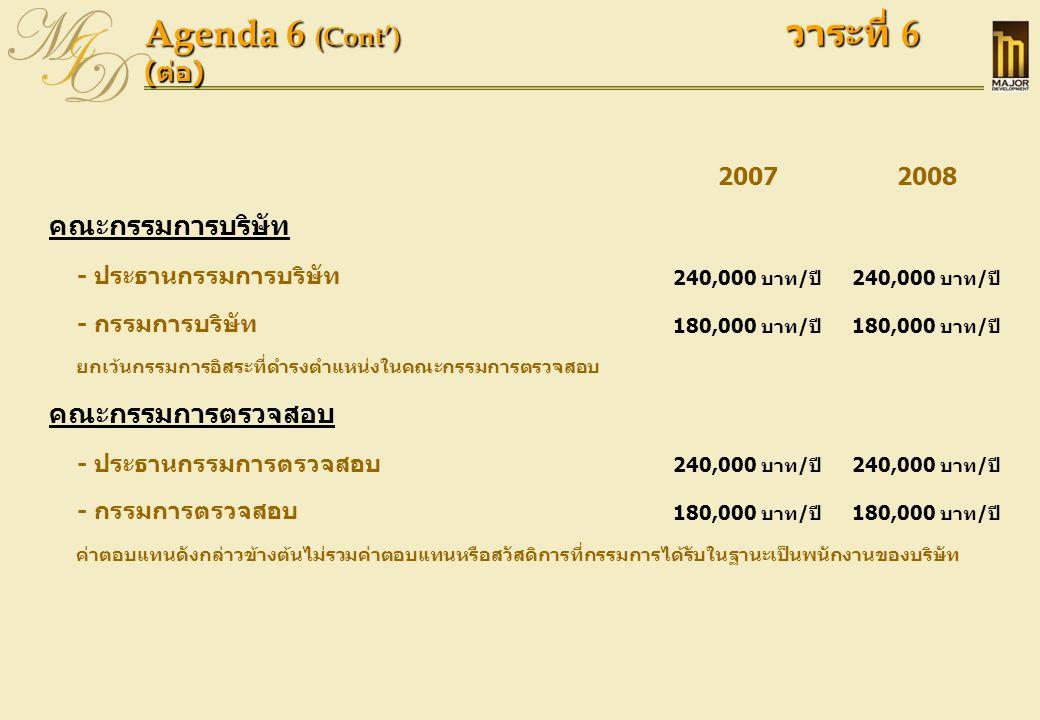 Agenda 6 (Cont') วาระที่ 6 ( ต่อ ) 20072008 คณะกรรมการบริษัท - ประธานกรรมการบริษัท 240,000 บาท/ปี - กรรมการบริษัท 180,000 บาท/ปี ยกเว้นกรรมการอิสระที่