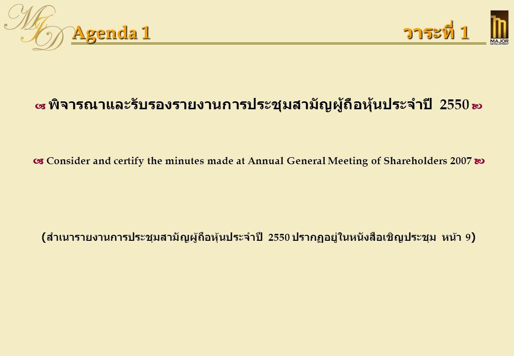 Agenda 1 วาระที่ 1  พิจารณาและรับรองรายงานการประชุมสามัญผู้ถือหุ้นประจำปี 2550   Consider and certify the minutes made at Annual General Meeting of
