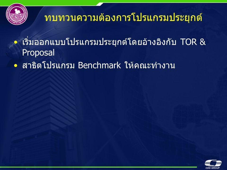 ทบทวนความต้องการโปรแกรมประยุกต์ •เริ่มออกแบบโปรแกรมประยุกต์โดยอ้างอิงกับ TOR & Proposal •สาธิตโปรแกรม Benchmark ให้คณะทำงาน