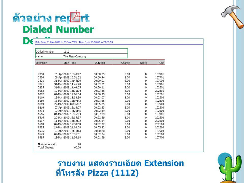 รายงาน แสดงรายเอียด Extension ที่โทรสั่ง Pizza (1112)