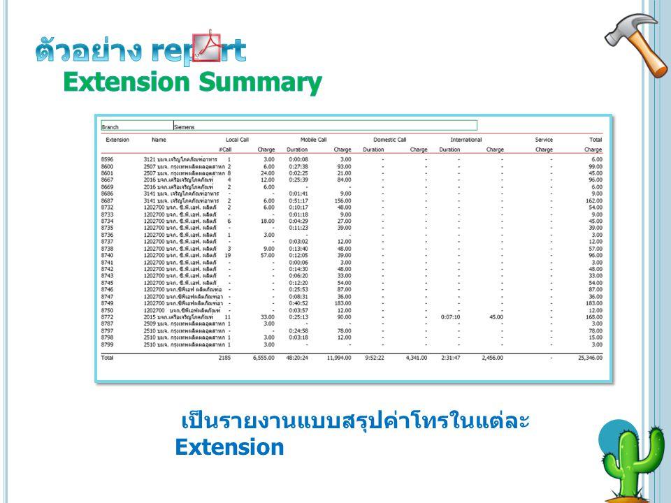 เป็นรายงานแบบสรุปค่าโทรในแต่ละ Extension