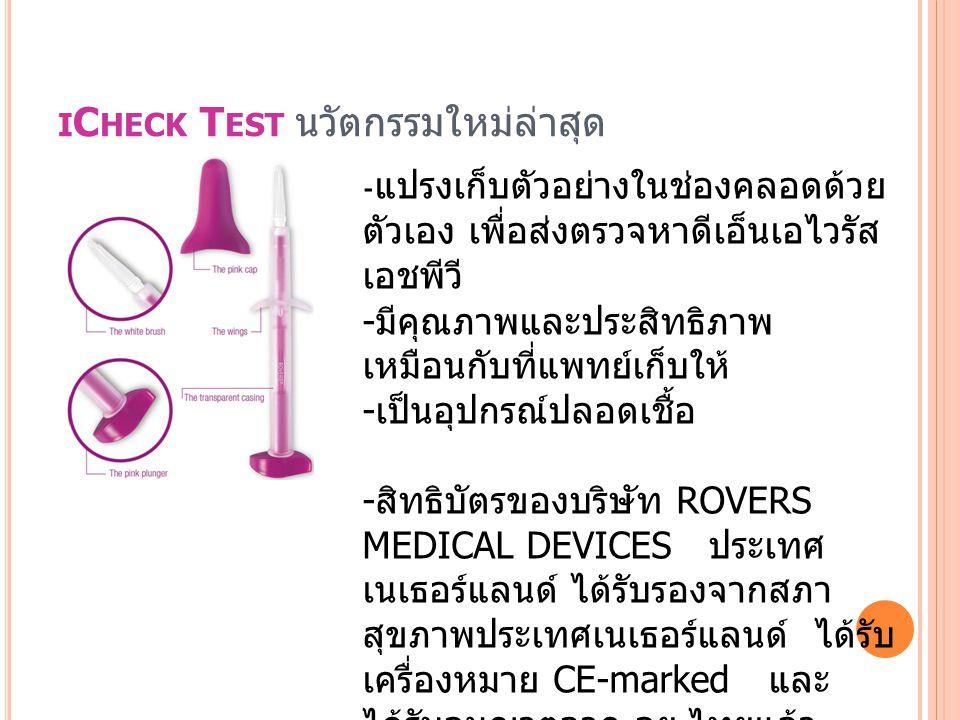 I C HECK T EST นวัตกรรมใหม่ล่าสุด - แปรงเก็บตัวอย่างในช่องคลอดด้วย ตัวเอง เพื่อส่งตรวจหาดีเอ็นเอไวรัส เอชพีวี - มีคุณภาพและประสิทธิภาพ เหมือนกับที่แพท
