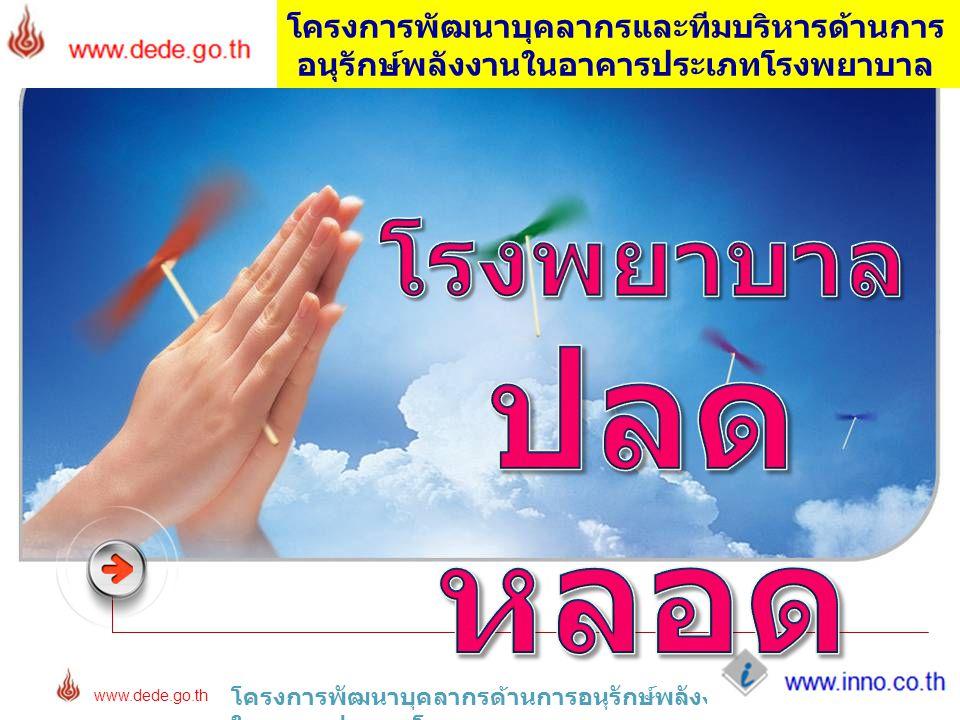 www.inno.co.th www.dede.go.th โครงการพัฒนาบุคลากรด้านการอนุรักษ์พลังงาน ในอาคารประเภทโรงพยาบาล โครงการพัฒนาบุคลากรและทีมบริหารด้านการ อนุรักษ์พลังงานใ