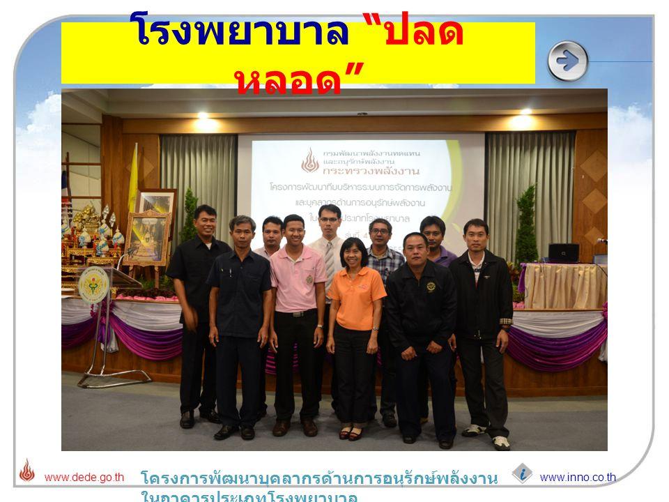"""www.inno.co.th www.dede.go.th โครงการพัฒนาบุคลากรด้านการอนุรักษ์พลังงาน ในอาคารประเภทโรงพยาบาล โรงพยาบาล """" ปลด หลอด """""""