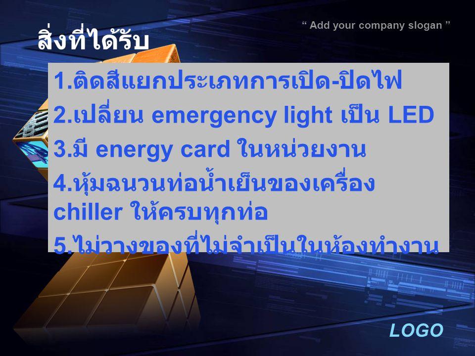 "LOGO "" Add your company slogan "" สิ่งที่ได้รับ 1. ติดสีแยกประเภทการเปิด - ปิดไฟ 2. เปลี่ยน emergency light เป็น LED 3. มี energy card ในหน่วยงาน 4. หุ"