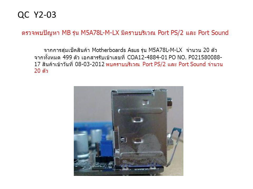 ตรวจพบปัญหา MB รุ่น M5A78L-M-LX มีคราบบริเวณ Port PS/2 และ Port Sound จากการสุ่มเช็คสินค้า Motherboards Asus รุ่น M5A78L-M-LX จำนวน 20 ตัว จากทั้งหมด 499 ตัว เอกสารรับเข้าเลขที่ COA12-4884-01 PO NO.