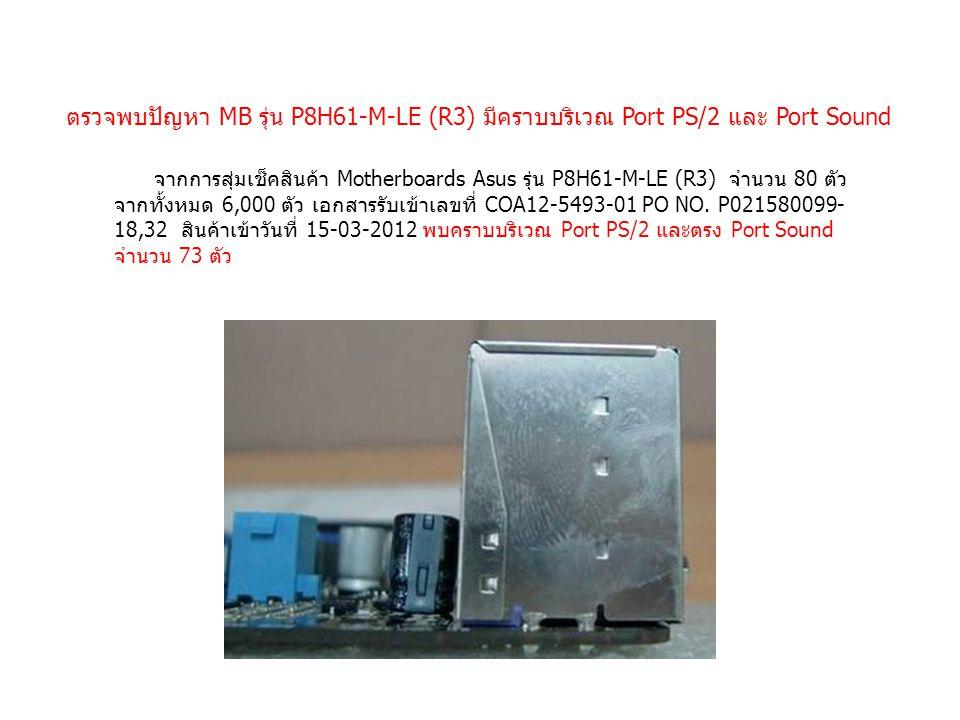 ตรวจพบปัญหา MB รุ่น P8H61-M-LE (R3) มีคราบบริเวณ Port PS/2 และ Port Sound จากการสุ่มเช็คสินค้า Motherboards Asus รุ่น P8H61-M-LE (R3) จำนวน 80 ตัว จากทั้งหมด 6,000 ตัว เอกสารรับเข้าเลขที่ COA12-5493-01 PO NO.