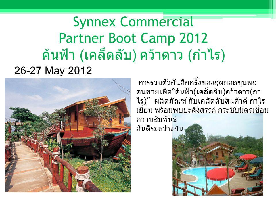 Synnex Commercial Partner Boot Camp 2012 ค้นฟ้า ( เคล็ดลับ ) คว้าดาว ( กำไร ) 26-27 May 2012 การรวมตัวกันอีกครั้งของสุดยอดขุนพล คนขายเพื่อ ค้นฟ้า ( เคล็ดลับ ) คว้าดาว ( กา ไร ) ผลิตภัณฑ์ กับเคล็ดลับสินค้าดี กาไร เยี่ยม พร้อมพบปะสังสรรค์ กระชับมิตรเชื่อม ความสัมพันธ์ อันดีระหว่างกัน