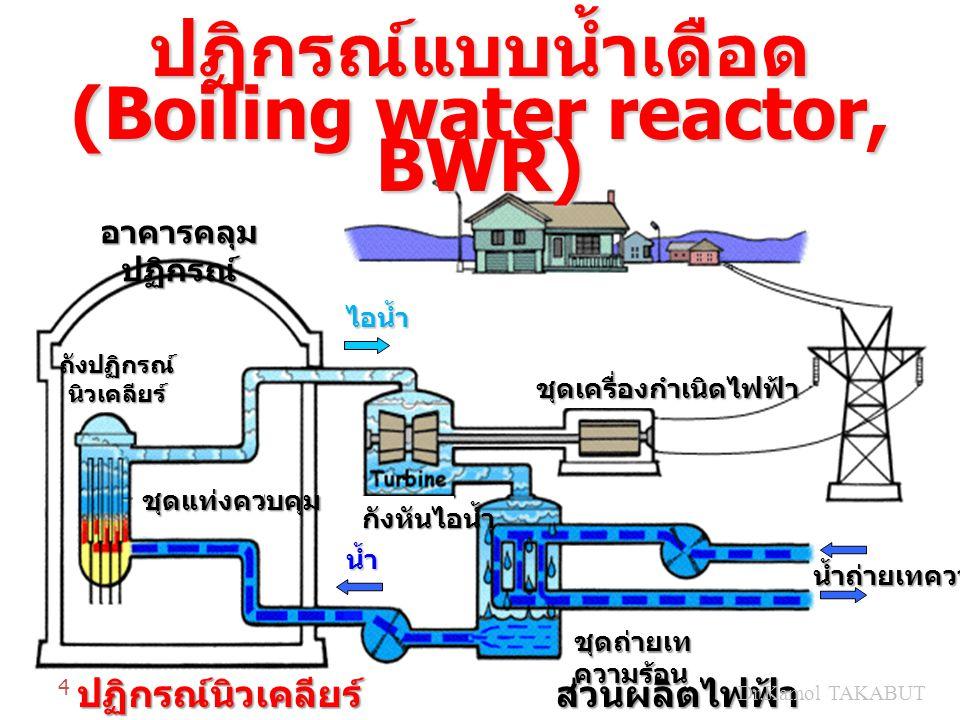 ปฏิกรณ์แบบน้ำเดือด (Boiling water reactor, BWR) อาคารคลุม ปฏิกรณ์ ปฏิกรณ์นิวเคลียร์ส่วนผลิตไฟฟ้า น้ำถ่ายเทความร้อน กังหันไอน้ำ ชุดเครื่องกำเนิดไฟฟ้า ช