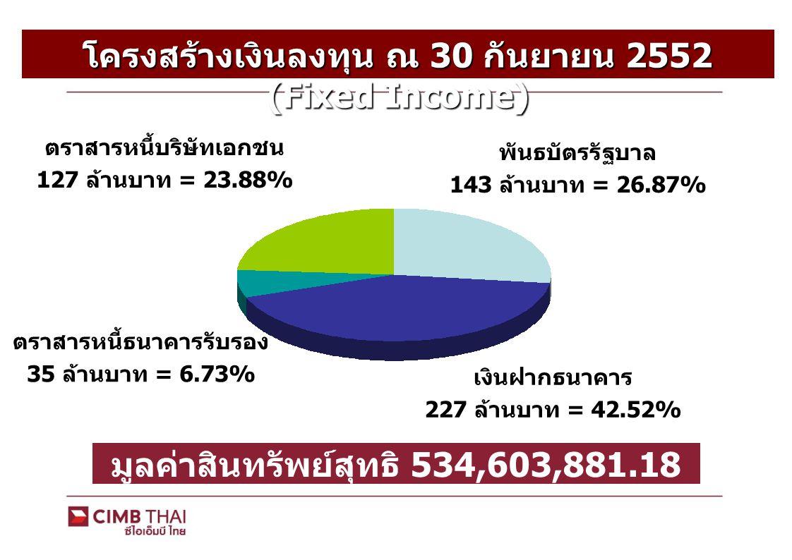 โครงสร้างเงินลงทุน ณ 30 กันยายน 2552 (Equity) พันธบัตรรัฐบาล 38 ล้านบาท = 31.19% เงินฝากธนาคาร 4 ล้านบาท = 3.32% มูลค่าสินทรัพย์สุทธิ 123,886,679.94 บาท หุ้นสามัญ 80 ล้านบาท = 64.69% ตราสารหนี้สถาบันการเงิน 1 ล้านบาท = 0.80%