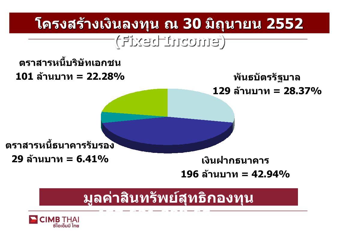 โครงสร้างเงินลงทุน ณ 30 มิถุนายน 2552 (Fixed Income) พันธบัตรรัฐบาล 129 ล้านบาท = 28.37% เงินฝากธนาคาร 196 ล้านบาท = 42.94% ตราสารหนี้ธนาคารรับรอง 29 ล้านบาท = 6.41% ตราสารหนี้บริษัทเอกชน 101 ล้านบาท = 22.28% มูลค่าสินทรัพย์สุทธิกองทุน 457,621,008.65 บาท