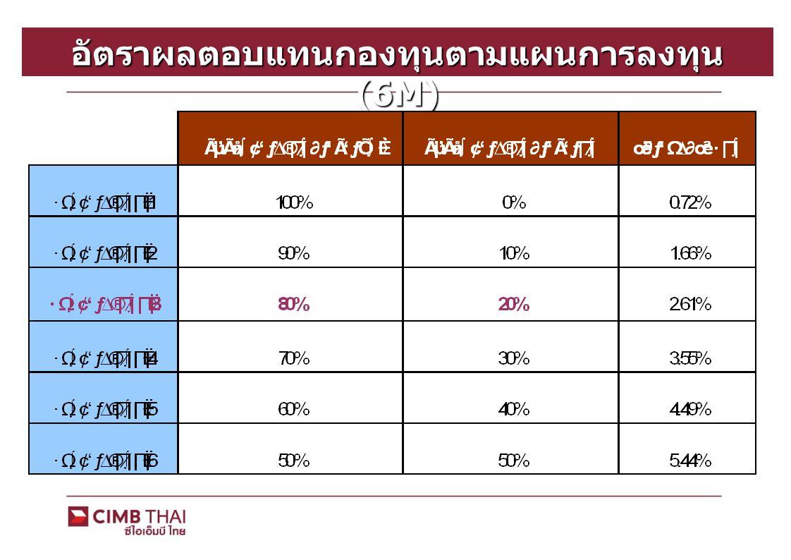 อัตราผลตอบแทนกองทุนตามแผนการลงทุน (6M)