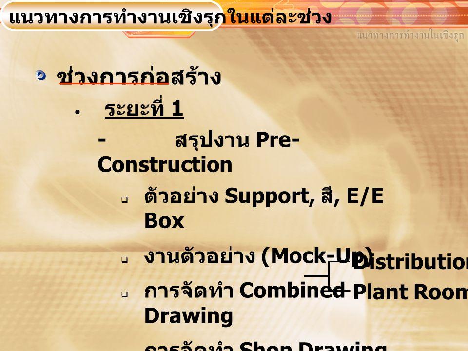 ช่วงการก่อสร้าง  ระยะที่ 1 - สรุปงาน Pre- Construction  ตัวอย่าง Support, สี, E/E Box  งานตัวอย่าง (Mock-Up)  การจัดทำ Combined Drawing  การจัดทำ Shop Drawing แนวทางการทำงานเชิงรุกในแต่ละช่วง Distribution Plant Room