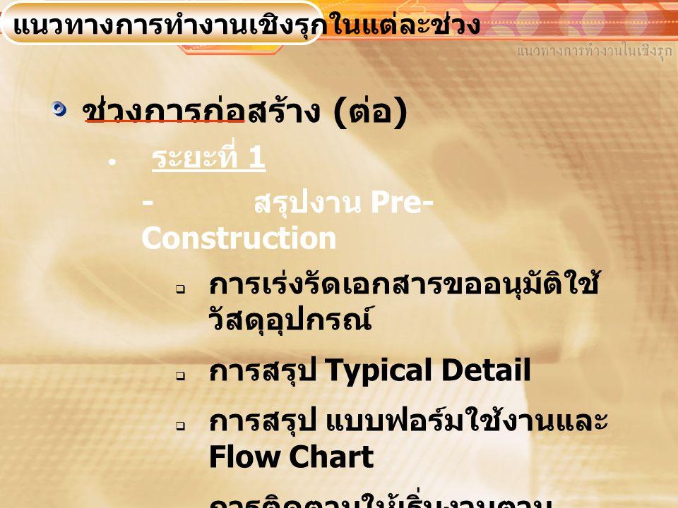 ช่วงการก่อสร้าง ( ต่อ )  ระยะที่ 1 - สรุปงาน Pre- Construction  การเร่งรัดเอกสารขออนุมัติใช้ วัสดุอุปกรณ์  การสรุป Typical Detail  การสรุป แบบฟอร์มใช้งานและ Flow Chart  การติดตามให้เริ่มงานตาม แผนการก่อสร้าง (Scheduling Management ) แนวทางการทำงานเชิงรุกในแต่ละช่วง