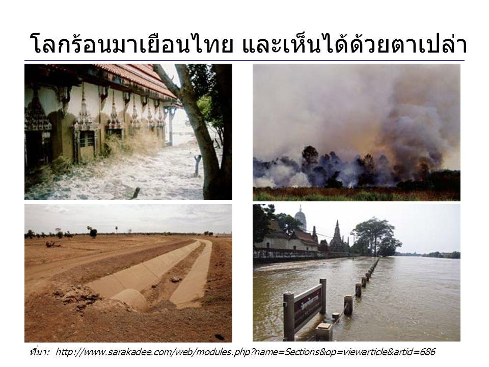 โลกร้อนมาเยือนไทย และเห็นได้ด้วยตาเปล่า ที่มา: http://www.sarakadee.com/web/modules.php?name=Sections&op=viewarticle&artid=686