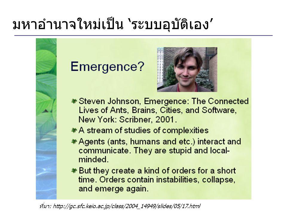 มหาอำนาจใหม่เป็น 'ระบบอุบัติเอง' ที่มา: http://gc.sfc.keio.ac.jp/class/2004_14949/slides/05/17.html