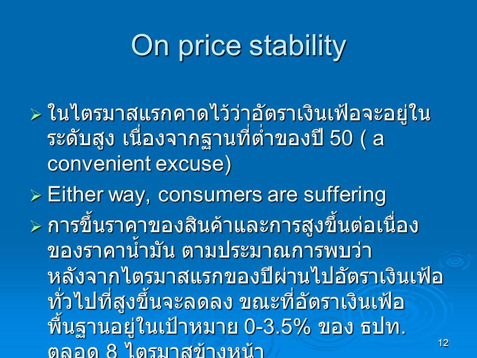 12 On price stability  ในไตรมาสแรกคาดไว้ว่าอัตราเงินเฟ้อจะอยู่ใน ระดับสูง เนื่องจากฐานที่ต่ำของปี 50 ( a convenient excuse)  Either way, consumers are suffering  การขึ้นราคาของสินค้าและการสูงขึ้นต่อเนื่อง ของราคาน้ำมัน ตามประมาณการพบว่า หลังจากไตรมาสแรกของปีผ่านไปอัตราเงินเฟ้อ ทั่วไปที่สูงขึ้นจะลดลง ขณะที่อัตราเงินเฟ้อ พื้นฐานอยู่ในเป้าหมาย 0-3.5% ของ ธปท.
