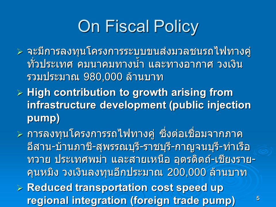 5 On Fiscal Policy  จะมีการลงทุนโครงการระบบขนส่งมวลชนรถไฟทางคู่ ทั่วประเทศ คมนาคมทางน้ำ และทางอากาศ วงเงิน รวมประมาณ 980,000 ล้านบาท  High contribution to growth arising from infrastructure development (public injection pump)  การลงทุนโครงการรถไฟทางคู่ ซึ่งต่อเชื่อมจากภาค อีสาน - บ้านภาชี - สุพรรณบุรี - ราชบุรี - กาญจนบุรี - ท่าเรือ ทวาย ประเทศพม่า และสายเหนือ อุตรดิตถ์ - เชียงราย - คุนหมิง วงเงินลงทุนอีกประมาณ 200,000 ล้านบาท  Reduced transportation cost speed up regional integration (foreign trade pump)