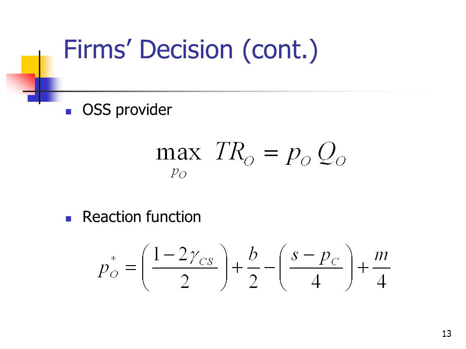 13 Firms' Decision (cont.)  OSS provider  Reaction function