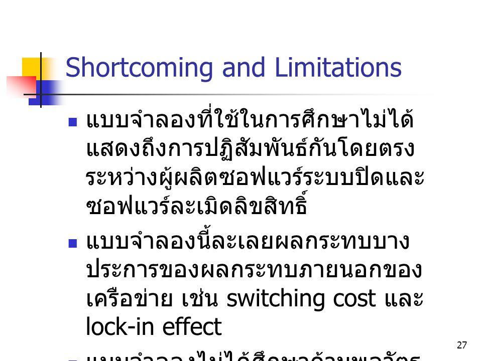 27 Shortcoming and Limitations  แบบจำลองที่ใช้ในการศึกษาไม่ได้ แสดงถึงการปฏิสัมพันธ์กันโดยตรง ระหว่างผู้ผลิตซอฟแวร์ระบบปิดและ ซอฟแวร์ละเมิดลิขสิทธิ์