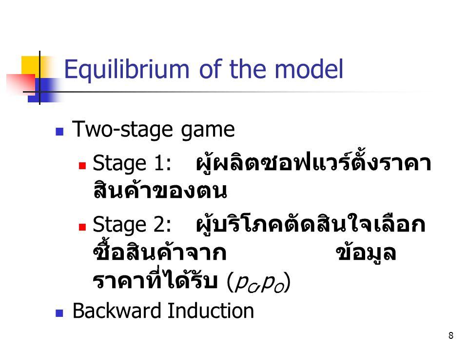 8 Equilibrium of the model  Two-stage game  Stage 1: ผู้ผลิตซอฟแวร์ตั้งราคา สินค้าของตน  Stage 2: ผู้บริโภคตัดสินใจเลือก ซื้อสินค้าจากข้อมูล ราคาที