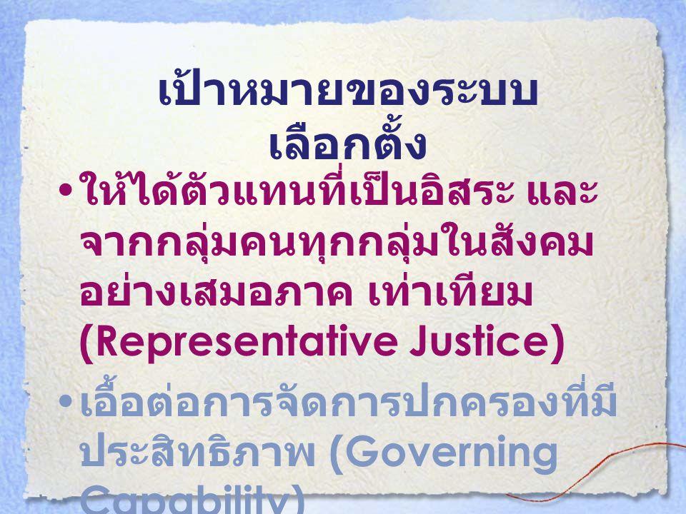เป้าหมายของระบบ เลือกตั้ง • ให้ได้ตัวแทนที่เป็นอิสระ และ จากกลุ่มคนทุกกลุ่มในสังคม อย่างเสมอภาค เท่าเทียม (Representative Justice) • เอื้อต่อการจัดการ