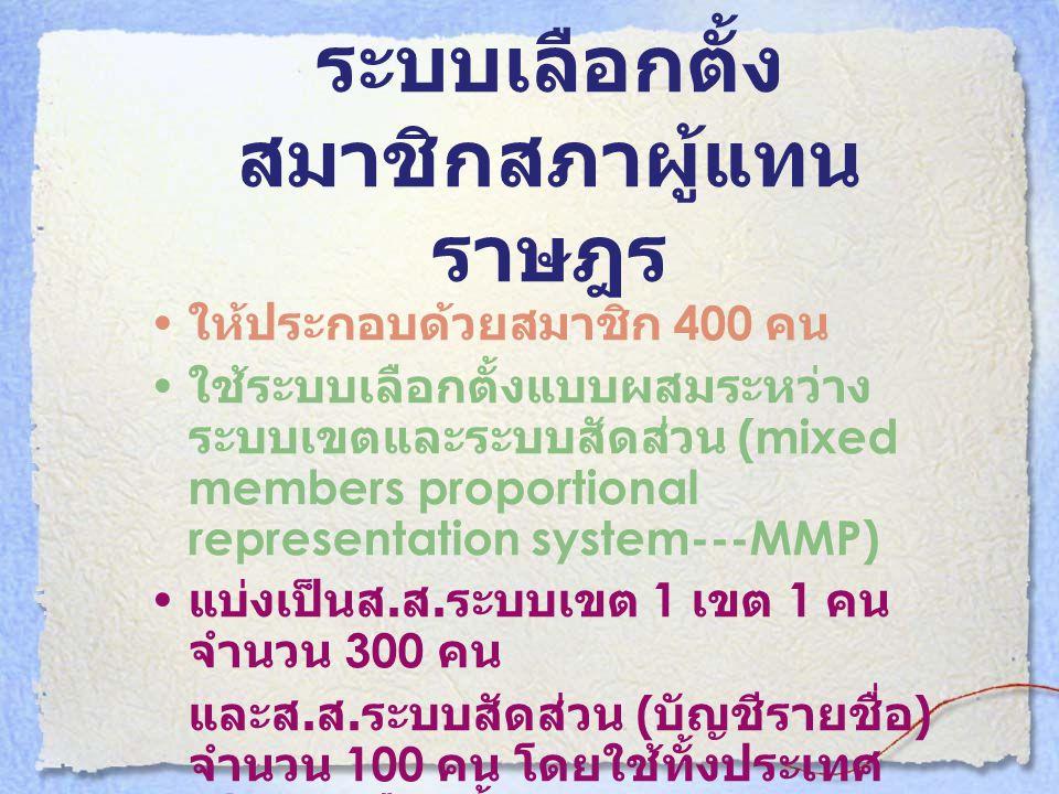 ระบบเลือกตั้ง สมาชิกสภาผู้แทน ราษฎร • ให้ประกอบด้วยสมาชิก 400 คน • ใช้ระบบเลือกตั้งแบบผสมระหว่าง ระบบเขตและระบบสัดส่วน (mixed members proportional rep