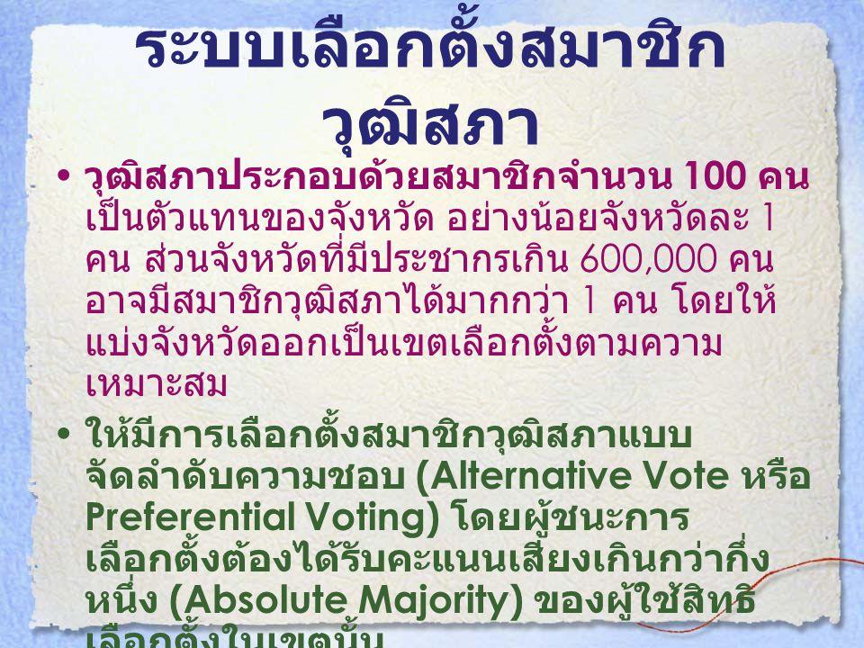 ระบบเลือกตั้งสมาชิก วุฒิสภา • วุฒิสภาประกอบด้วยสมาชิกจำนวน 100 คน เป็นตัวแทนของจังหวัด อย่างน้อยจังหวัดละ 1 คน ส่วนจังหวัดที่มีประชากรเกิน 600,000 คน