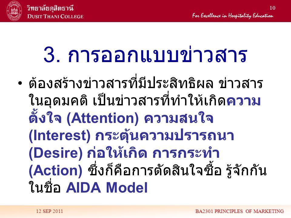 10 3. การออกแบบข่าวสาร • ต้องสร้างข่าวสารที่มีประสิทธิผล ข่าวสาร ในอุดมคติ เป็นข่าวสารที่ทำให้เกิดความ ตั้งใจ (Attention) ความสนใจ (Interest) กระตุ้นค