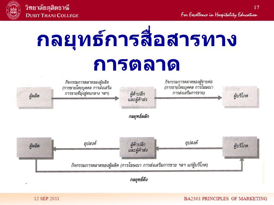 17 กลยุทธ์การสื่อสารทาง การตลาด 12 SEP 2011 BA2301 PRINCIPLES OF MARKETING
