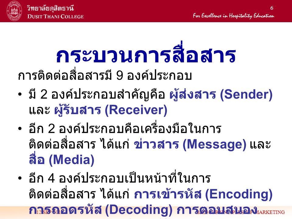 6 กระบวนการสื่อสาร 12 SEP 2011 BA2301 PRINCIPLES OF MARKETING การติดต่อสื่อสารมี 9 องค์ประกอบ • มี 2 องค์ประกอบสำคัญคือ ผู้ส่งสาร (Sender) และ ผู้รับส