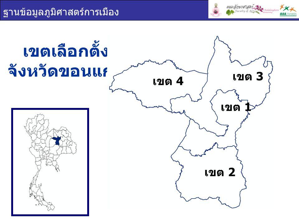 ฐานข้อมูลภูมิศาสตร์การเมือง เขตผู้มีสิทธิเลือกตั้งผู้ใช้สิทธิเลือกตั้งร้อยละผู้ใช้สิทธิ เลือกตั้ง ขอนแก่น 1,275,709906,04371.02 เขต 1 352,038266,52575.71 เขต 2 323,939224,92569.43 การใช้สิทธิเลือกตั้ง จังหวัดขอนแก่น ผู้มาใช้สิทธิเลือกตั้ง ผู้ไม่มาใช้สิทธิเลือกตั้ง ผลรวม เขต 1 เขต 2 เขต 3 เขต 4 28.98% 71.02%