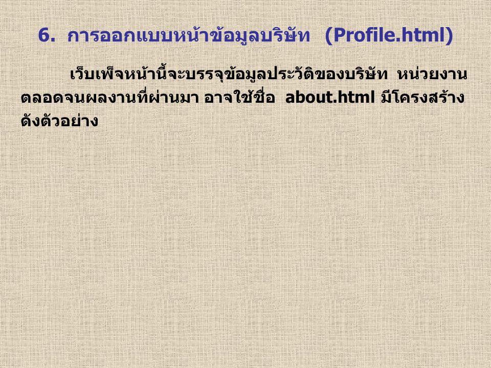 6. การออกแบบหน้าข้อมูลบริษัท (Profile.html) เว็บเพ็จหน้านี้จะบรรจุข้อมูลประวัติของบริษัท หน่วยงาน ตลอดจนผลงานที่ผ่านมา อาจใช้ชื่อ about.html มีโครงสร้